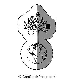 monochrome contour sticker of world with tree of knowledge