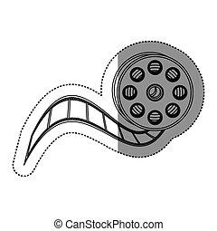 monochrome contour sticker with cinematography movie video film tap