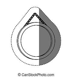 monochrome contour sticker with circular frame mirror with chain