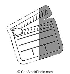 monochrome contour sticker with clapperboard cinema