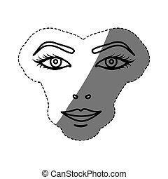 monochrome contour sticker with female face