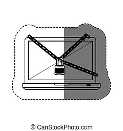 monochrome contour sticker with laptop with chains and padlock