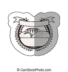 monochrome contour sticker with olive crown and ribbon and breads in basket