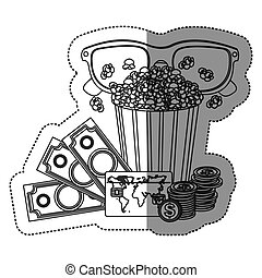 monochrome contour sticker with popcorn cup and glasses 3D and money and movie tickets