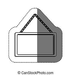 monochrome contour sticker with rectangular frame mirror with chain