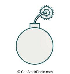 monochrome contour with bomb icon