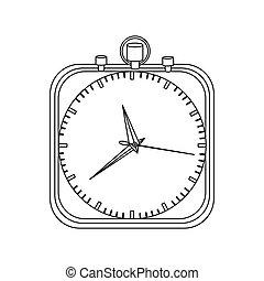 monochrome contour with chronometer in square shape