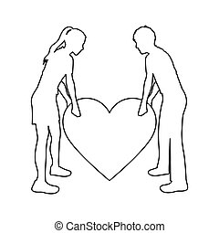 monochrome contour with couple holding a big heart