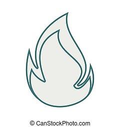 monochrome contour with flame close up