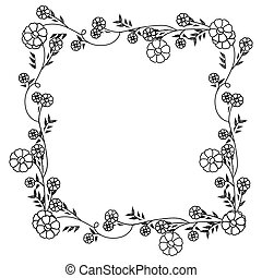 monochrome contour with floral square wreath decoration with flowers
