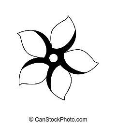 monochrome contour with flower icon floral