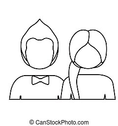 monochrome contour with half body couple without face she ponny tail and him with bow tie