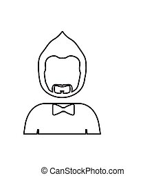 monochrome contour with half body man with beard without face and bow tie