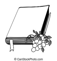 monochrome contour with holy bible with ribbon and grapes