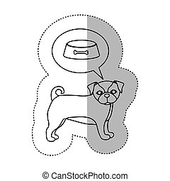monochrome contour with middle shadow sticker with french bulldog thinkin food bowl