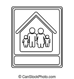 monochrome contour with portrait of family in home