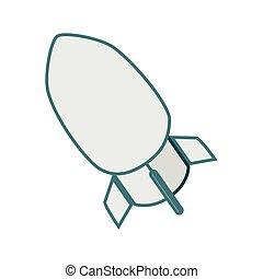 monochrome contour with rocket icon
