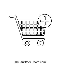 monochrome contour with shopping cart and plus sign