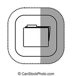 monochrome contour with square sticker of folder icon