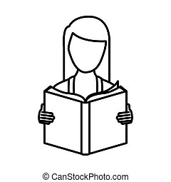 monochrome contour with woman reading a book