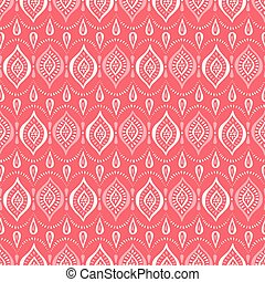 Monochrome Coral Handdrawn Lace Pattern with Diamonds and Dots. Classic Elegant Vector Seamless Background