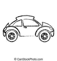 monochrome, croquis, sport, voiture