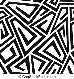monochrome curve maze seamless pattern