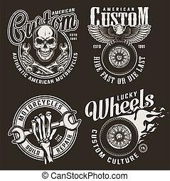 Monochrome custom motorcycle emblems