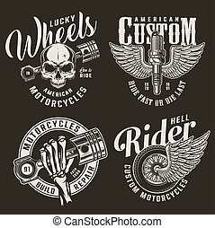 Monochrome custom motorcycle logotypes