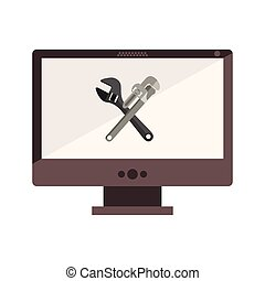 monochrome desktop computer with crossed wrenches in display vector illustration