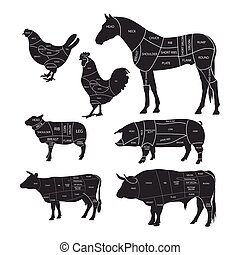 Monochrome diagram guide for cutting meat. Animal silhouettes with cut lines. Beef, horse meat, lamb, pork and chicken. Vector illustration.
