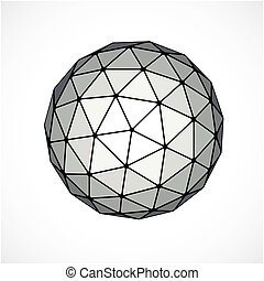 Monochrome dimensional vector low poly object, trigonometry...