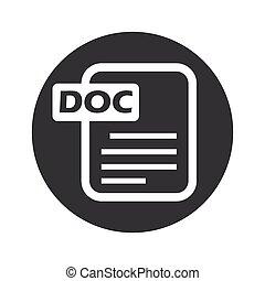 monochrome, doc., rond, fichier, icône