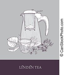 Monochrome drawing of glass teapot or jug with strainer, cup of herbal infused tea and linden flowers and leaves hand drawn with contour lines on gray background. Vector illustration for label, tag.