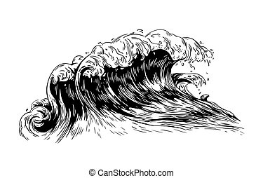 Monochrome drawing of sea or ocean wave with foaming crest. Oceanic storm, tide, seawave hand drawn with black contour lines on white background. Realistic vector illustration in vintage style.