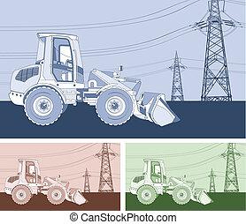 Monochrome dredge, agriculture landscape with heavy machine,...