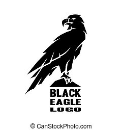 Monochrome eagle logo. - Monochrome black eagle logo, symbol...
