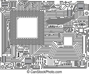 Monochrome electronic circuit board - industrial background