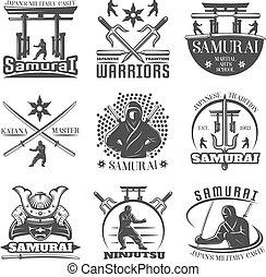monochrome, emblèmes, ensemble, samouraï