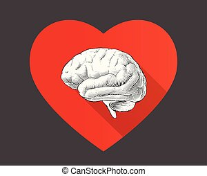 Monochrome engraving brain illustration with heart symbol