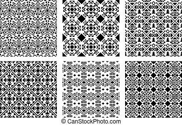 monochrome, ensemble, ethnique, motifs