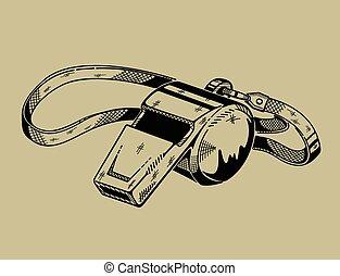 monochrome, equipment., whistle., illustration, sports