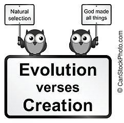 Evolution verses Creation - Monochrome Evolution verses...