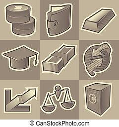 Monochrome finance icons