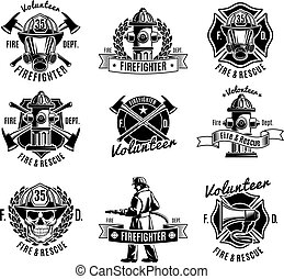 Monochrome firefighting labels set with fireman skull rescue tools and equipment in vintage style isolated vector illustration