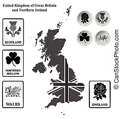 United Kingdom - Monochrome flag signs and icons of the...