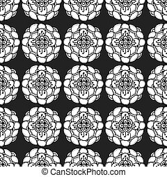 Monochrome Floral Pattern - Vector Seamless Monochrome...