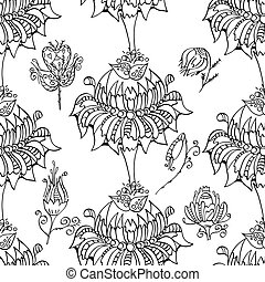 Monochrome Floral Pattern. - Vector Seamless Monochrome...