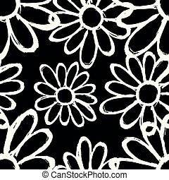 monochrome flowers on a black background beautiful seamless pattern