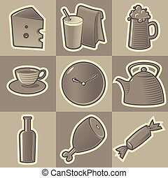 Monochrome food icons